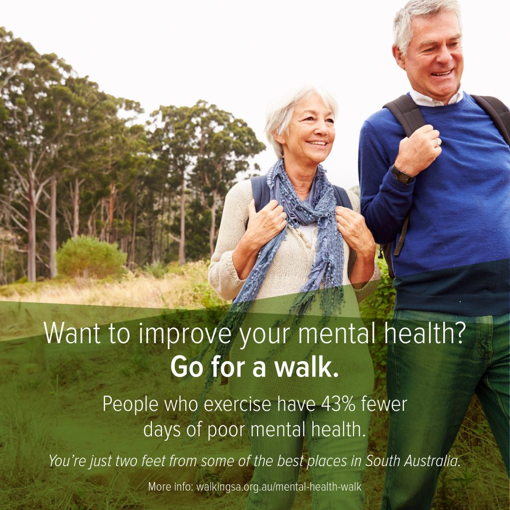 Want to improve your mental health? Go for a walk. People who exercise have 43% fewer days of poor mental health.