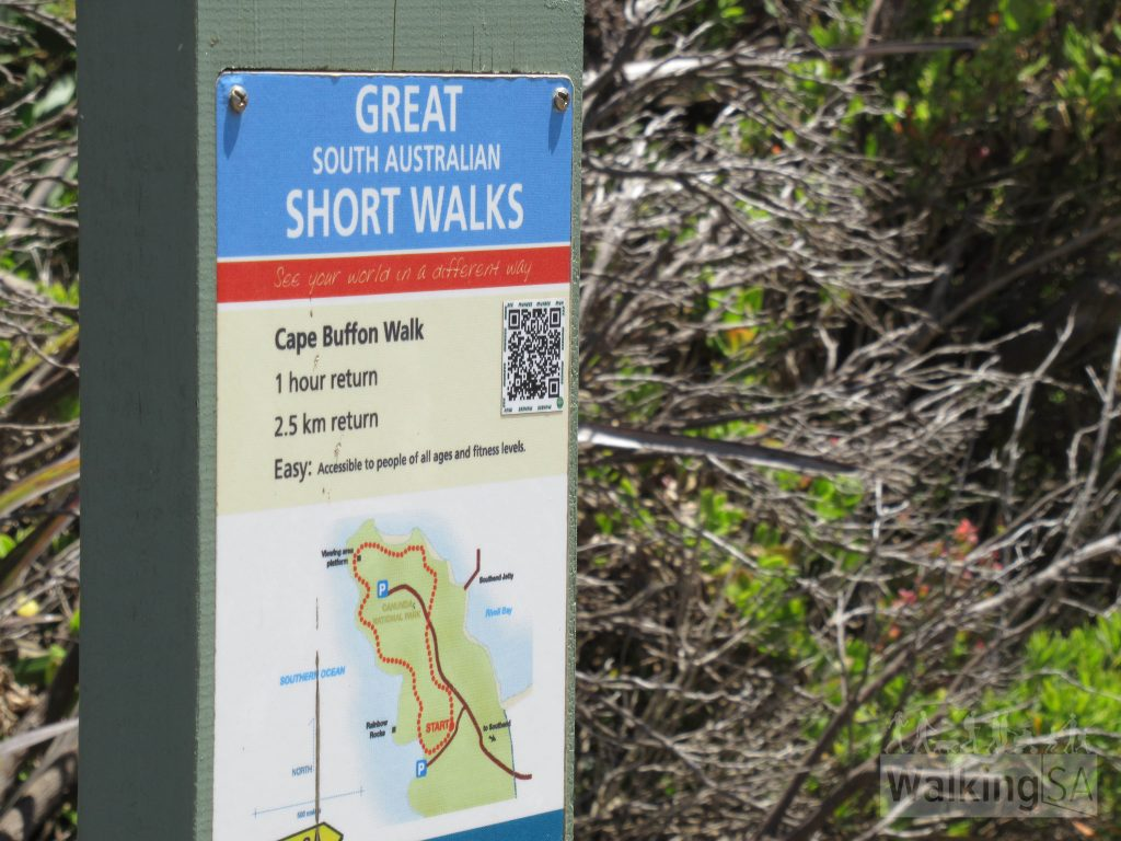 Cape Buffon Walk trailhead sign