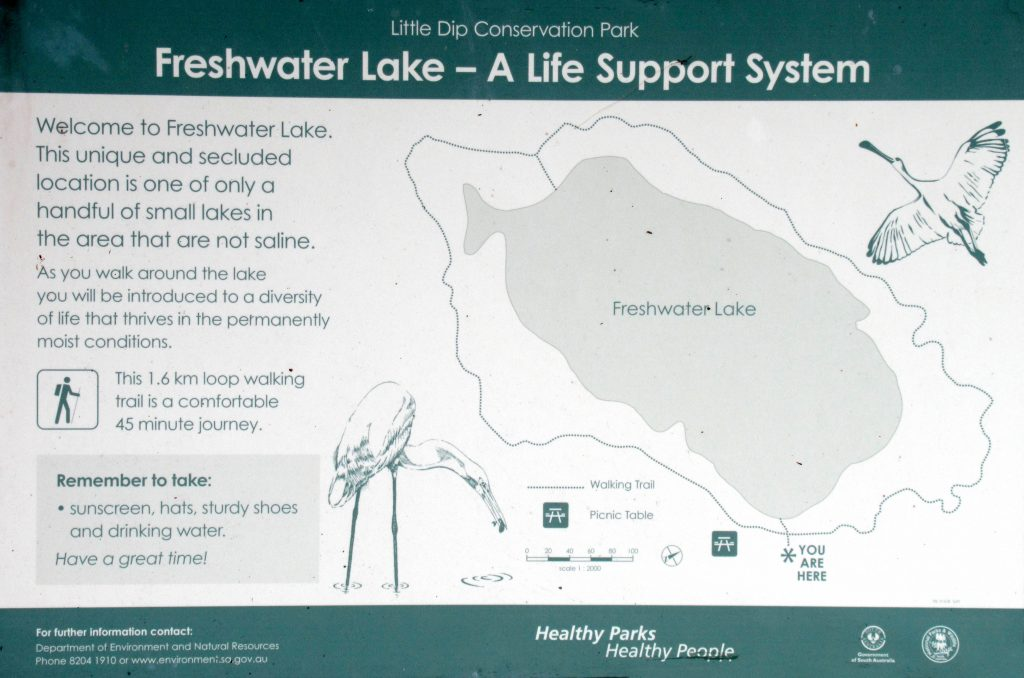 Map of the Fresh Water Lake Walk in Little Dip Conservation Park