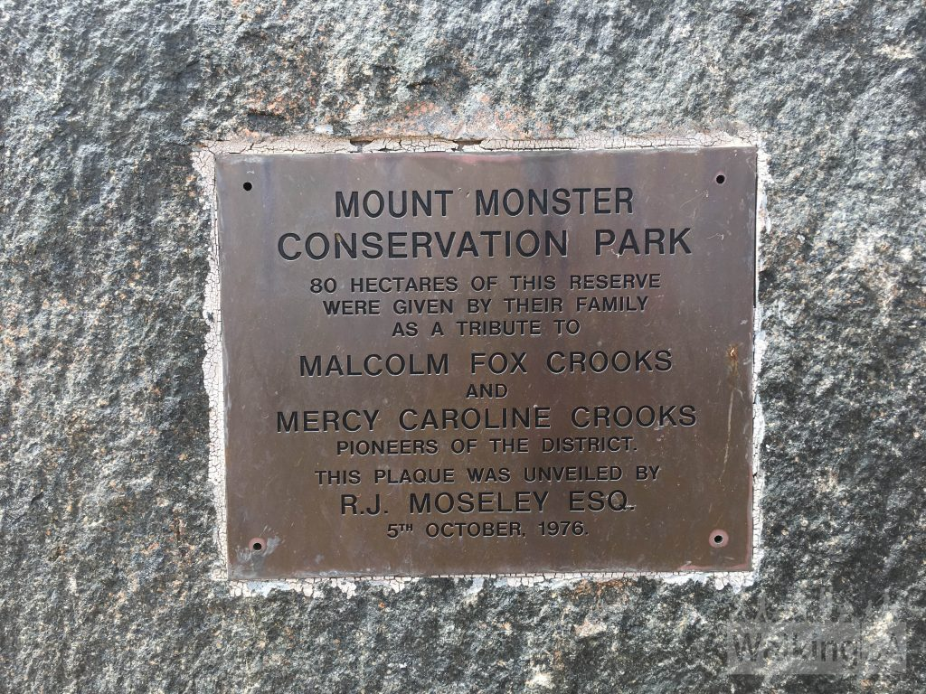 Plaque at the lookout on the Gwen Ellis Walking Trail at Mt Monster Conservation Park