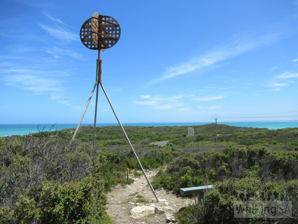 Trig mast at the highest point of the Cape Buffon Walk