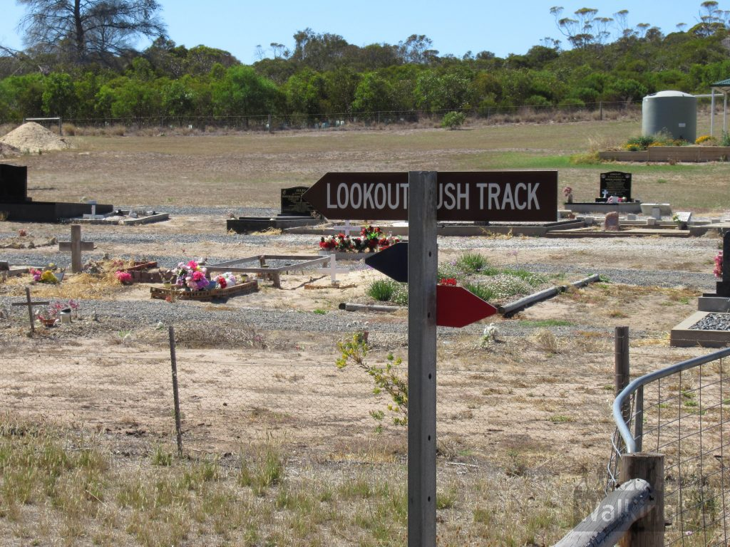 The Lions Walking Trail ends in the north at the Meningie Cemetery. From the cemetery to the Lookout it is labelled as the Lookout Bush Track and starts at the end of the cemetery carpark