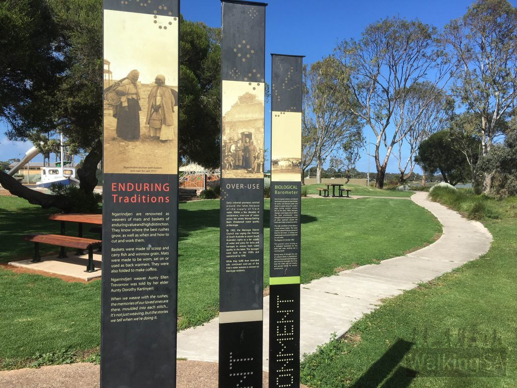 Interpretive signs along the Pelican Path outline some of the history and people