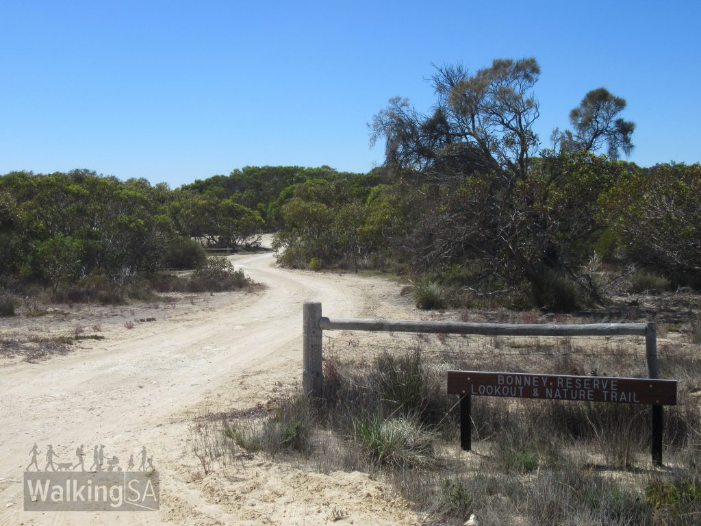 The carpark on Seven Mile Road for Bonney Reserve Nature Trail and Lookout