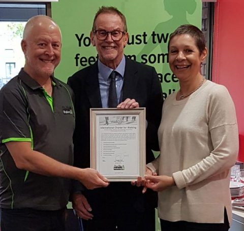 Rodney Tolley (middle) with Walking SA Executive Officer, Greg Boundy, and Walking SA Chair Tuesday Udell, having signed the Walk21 International Charter for Walking