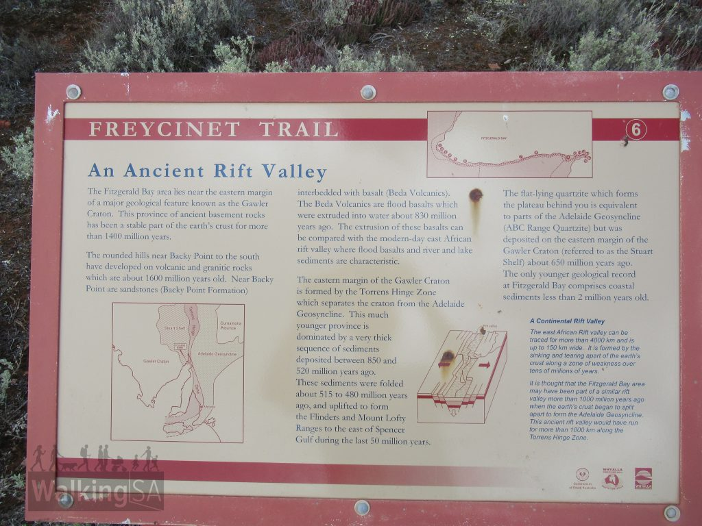 An interpretive sign on Freycinet Trail about the ancient rift valley