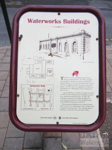 One of the interpretive signs on the Port Augusta Heritage Walk, this one for the Waterworks