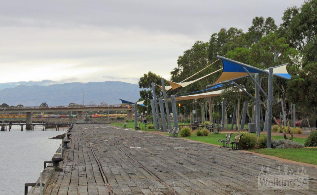 The Coastal Path follows the old port wharfs in central Port Augusta