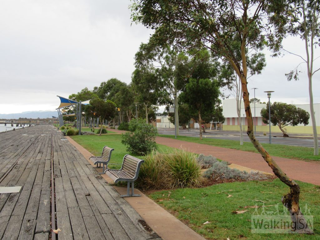 The Coastal Path paralell to the old port wharfs in central Port Augusta is a concrete path