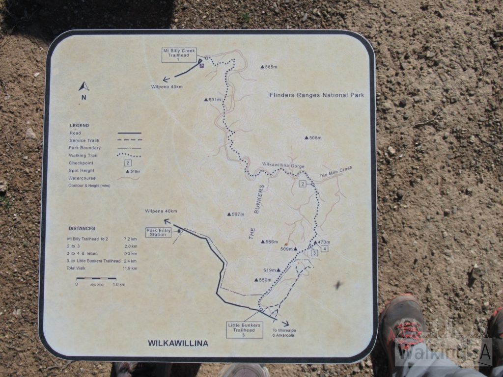 The Wilkawillina Gorge Hike is marked with map signposts