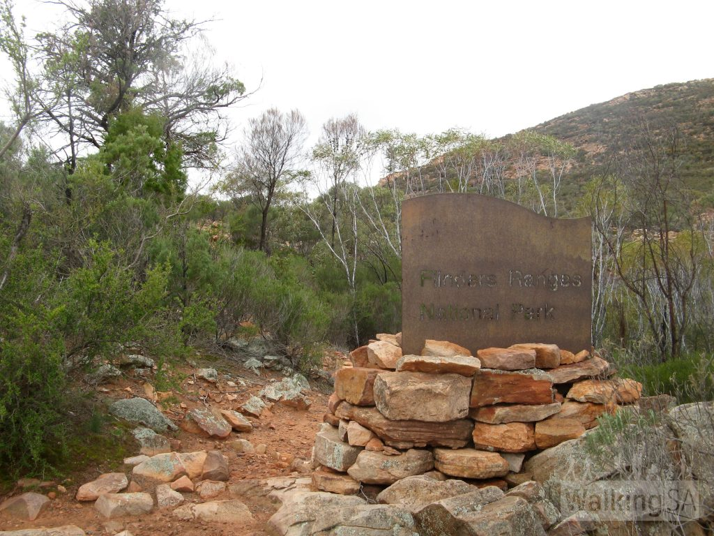The entrance sign on the Heysen Trail as it enters Ikara/Flinders Ranges National Park at Bridle Gap