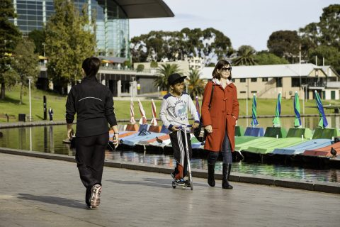 Walking along the River Torrens in Adelaide