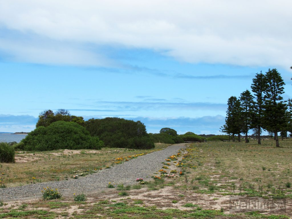 The walking trail along the foreshore at Harvey Drive at the southern end of Tumby Bay