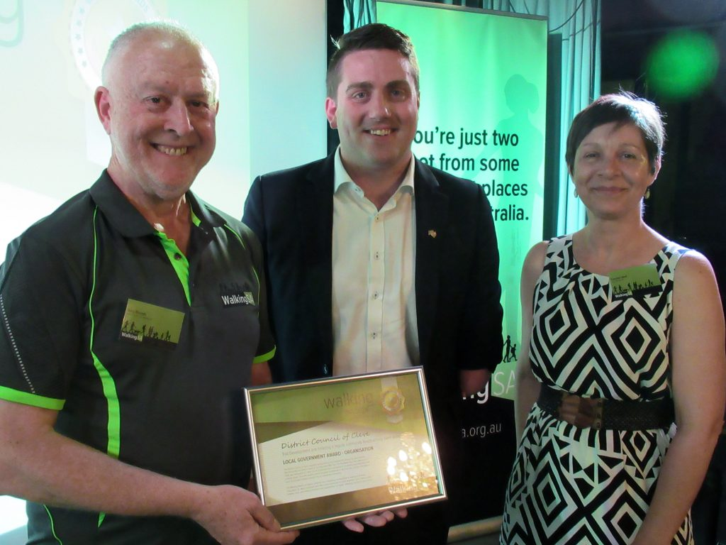 District Council of Cleve won a Walking Award: Local Government Award – Organisation for the trail improvements to the Carappee Hill Hiking Trail, and fostering the community-led parkrun event on the Yeldulknie Weir Trail. Greg Boundy, Walking SA (L) accepts the award on behalf of the District Council of Cleve, with Matt Cowdrey MP, Member for Colton and Tuesday Udell, Walking SA Chair.