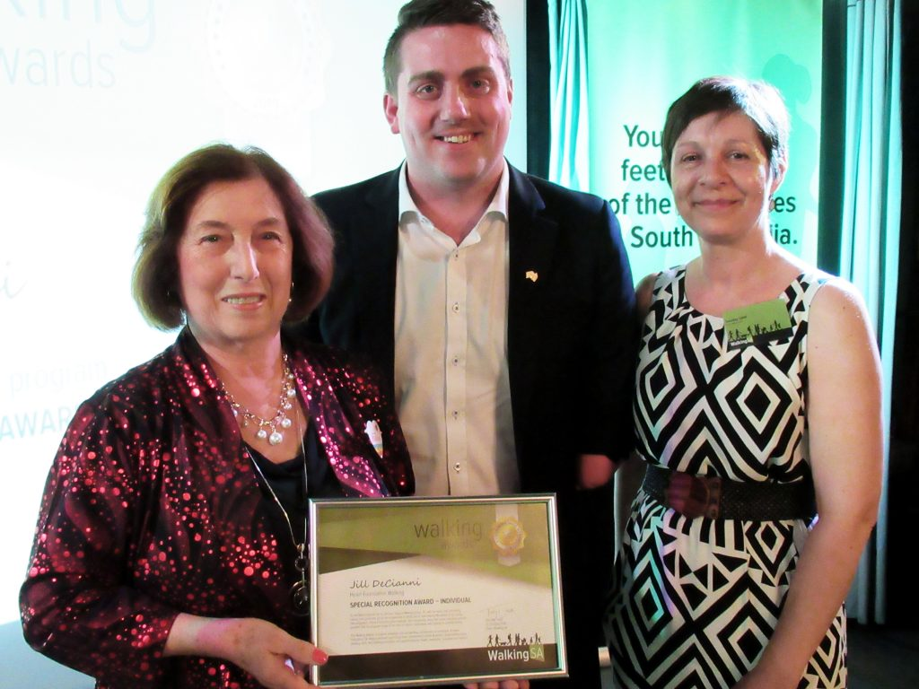 Jill DeCianni (L) with Matt Cowdrey MP, Member for Colton and Tuesday Udell, Walking SA Chair. As a Walk Organiser for the Brilliant Support Walking Group, with Heart Foundation Walking, Jill won a Special Recognition Award – Individual.