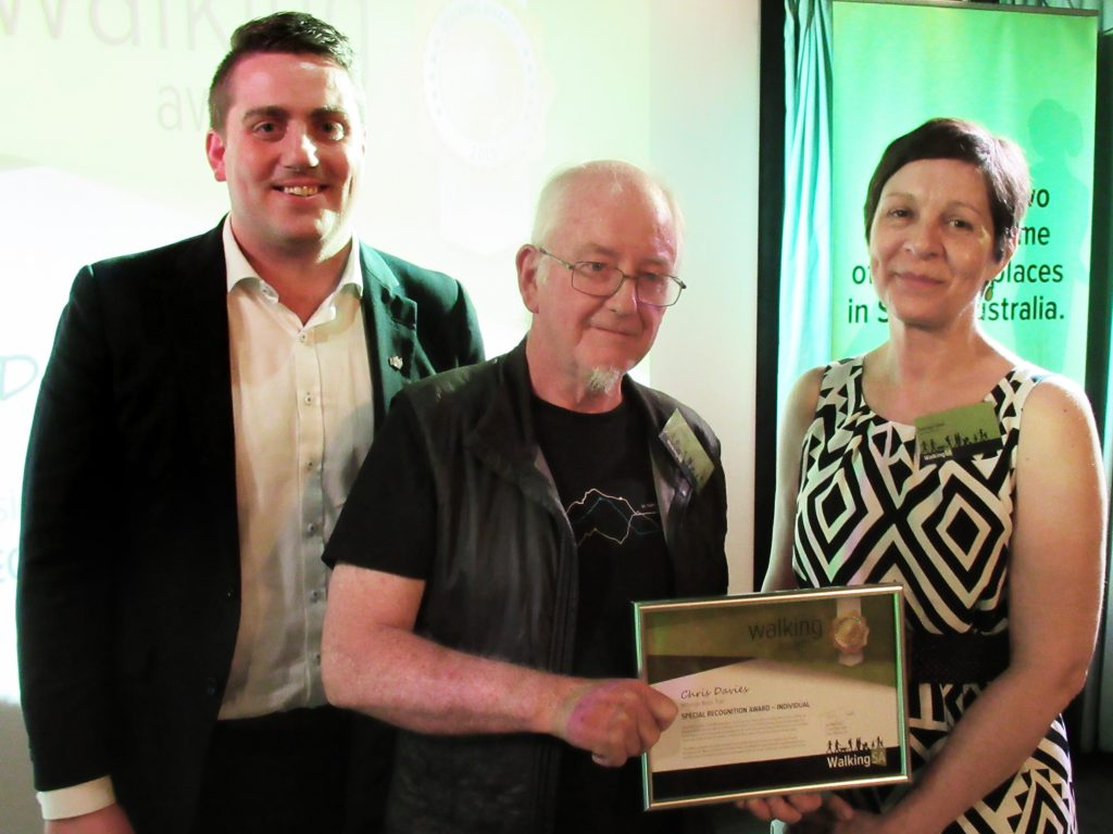Chris Davies (L) with Matt Cowdrey MP, Member for Colton and Tuesday Udell, Walking SA Chair. Chris won a Special Recognition Award – Individual for his work with the Willunga Basin Trail.