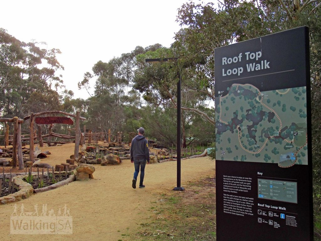 The Roof Top Loop Walk at Naracoorte Caves starts at the Fossil Hunters Playground