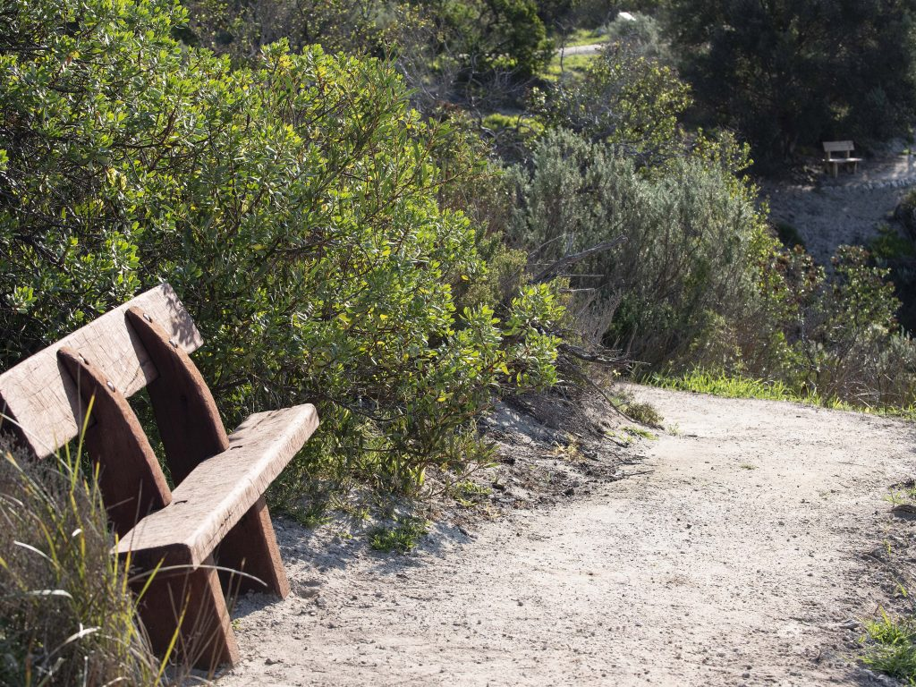 There are some bench rest spots along the Kangaroo Island Sculpture Trail