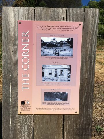 Interpretive sign about the history of The Corner