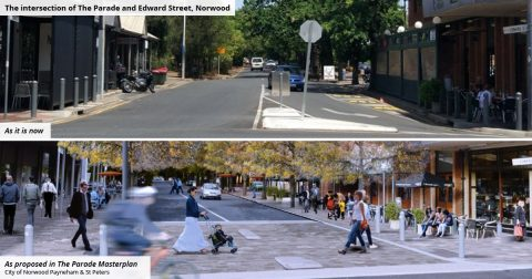 The images below show how the intersection of The Parade and Edward Street looks now, and how it looks in the proposed Masterplan
