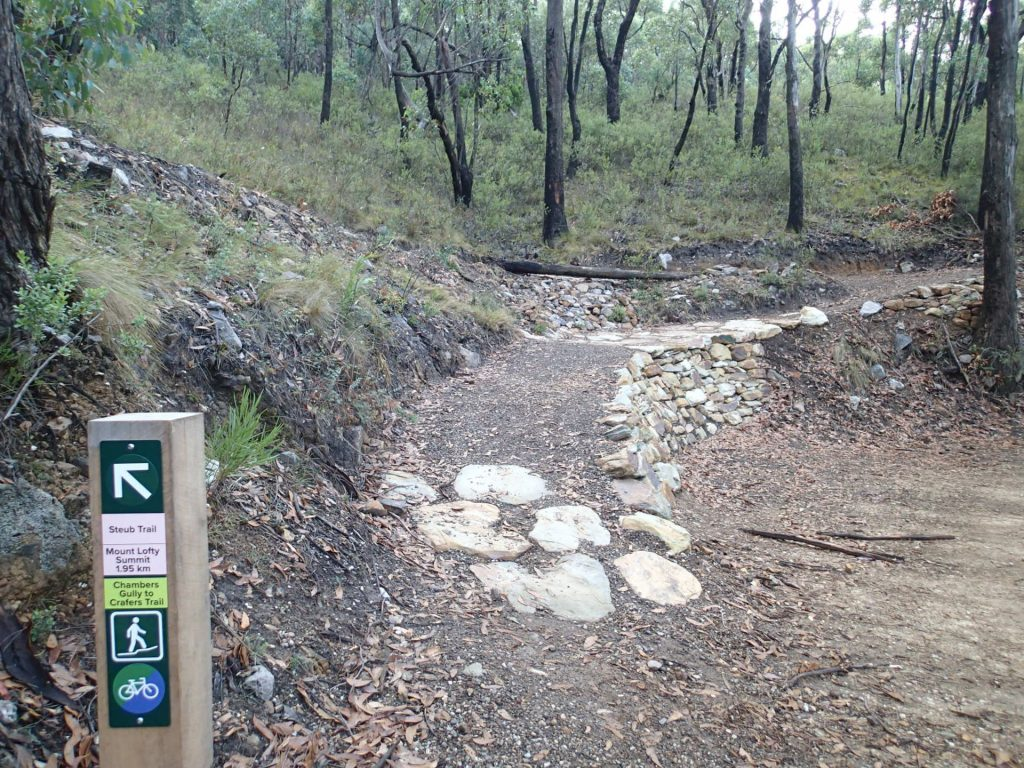 Section of the Steub Trail - new trail constructed, leading off of fire track. Gentle gradients, consistent width path suitable for walking, prams, running and riding.