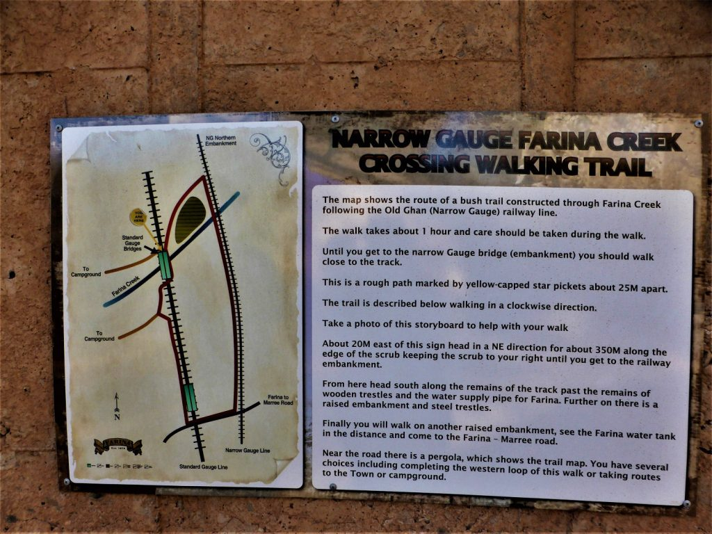 Trail information board about the Narrow Gauge River Crossing Walk