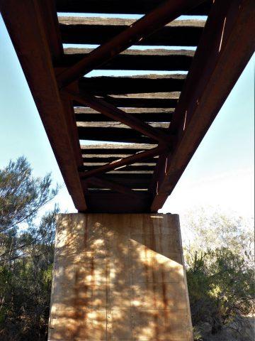 View under the standard gauge railway bridge on the Farina Creek Walk
