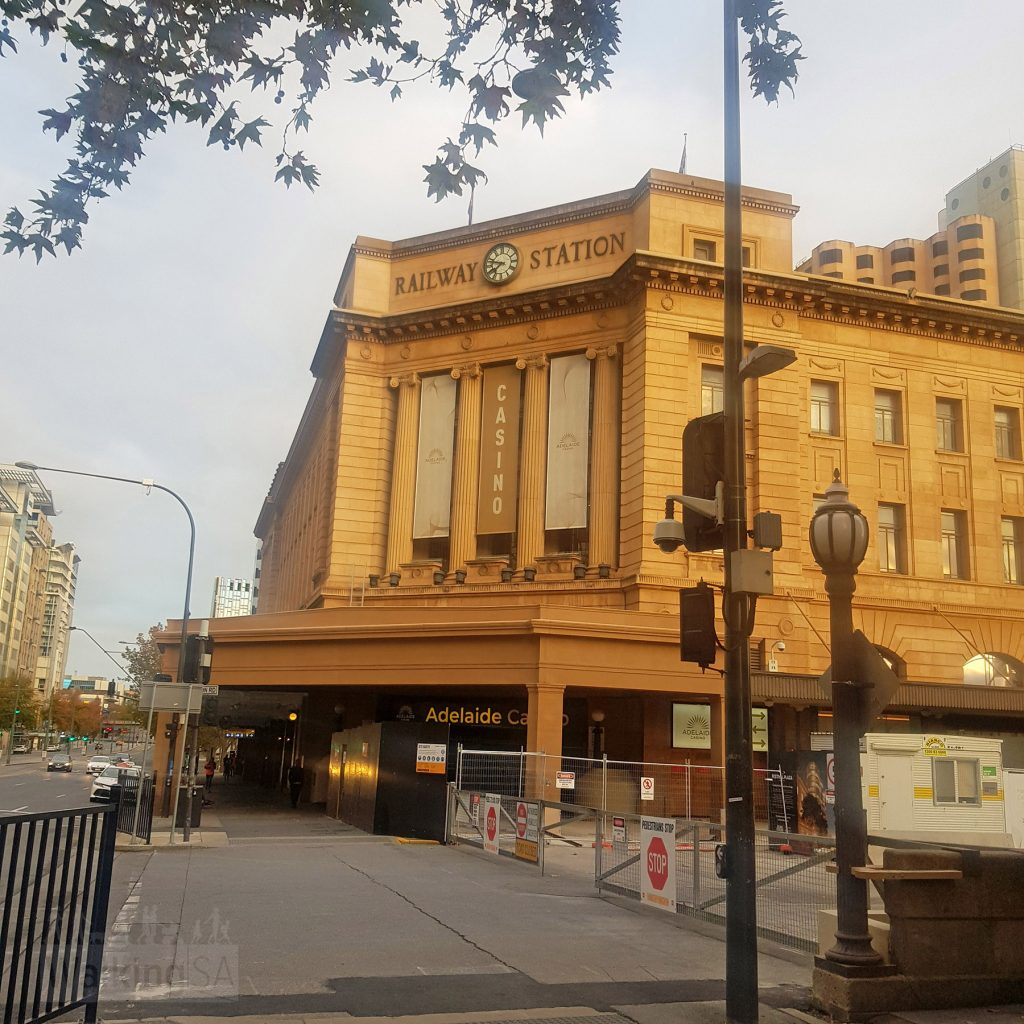 The walking route starts (or ends) at Adelaide Railway Station
