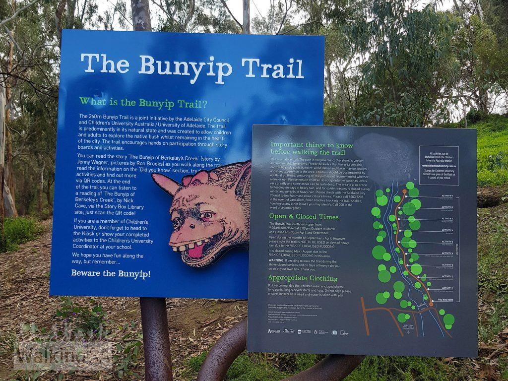 Trailhead of the Bunyip Trail in Bonython Park/Tulya Wardli