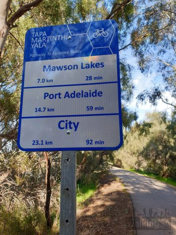 The loop follows some of the Tapa Martinthi Yala Shared Use Path that follows the Northern Connector between Port Adelaide and the Northern Expressway to Gawler