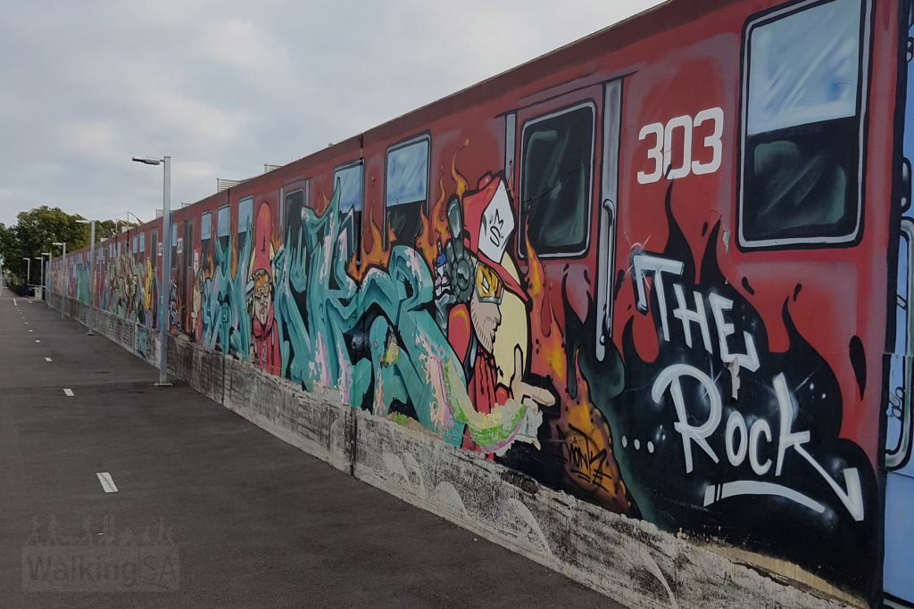 The Outer Harbour Greenway has plenty of street art such as this tribute to the 1950s trains