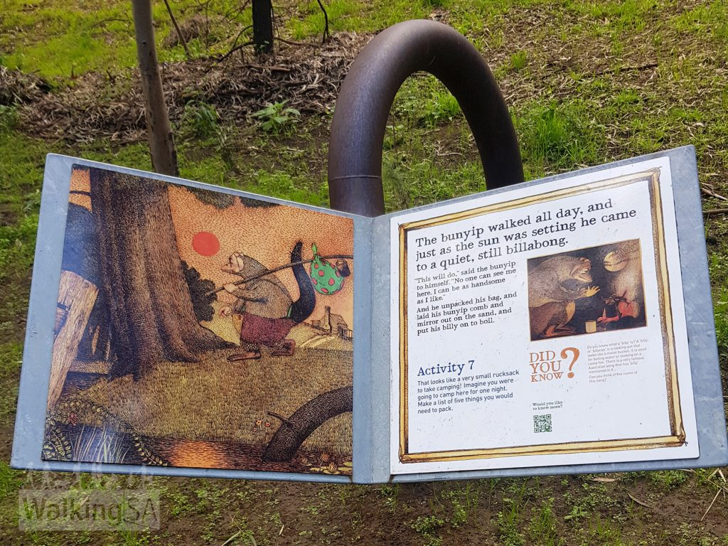 You can read the story 'The Bunyip of Berkley's Creek' as you walk the trail, and participate in activities from the Bunyip Trail Activity booklet