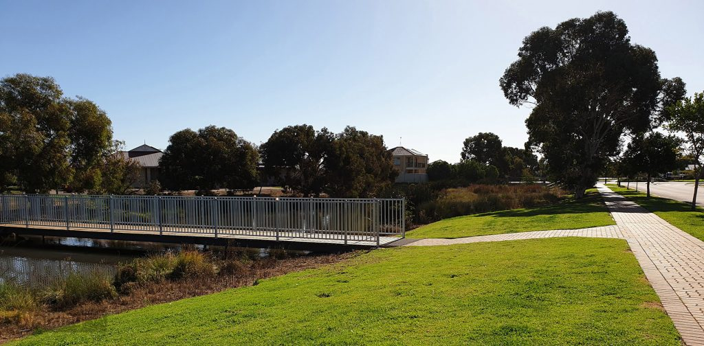 An easy spot to start the walks is here, at the bridge near the playground and Bridgeport Corner