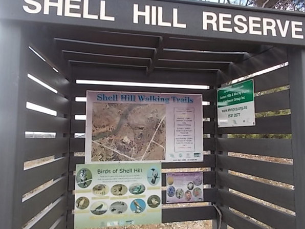 Information shelter with information about walking trails in Shell Hill Reserve