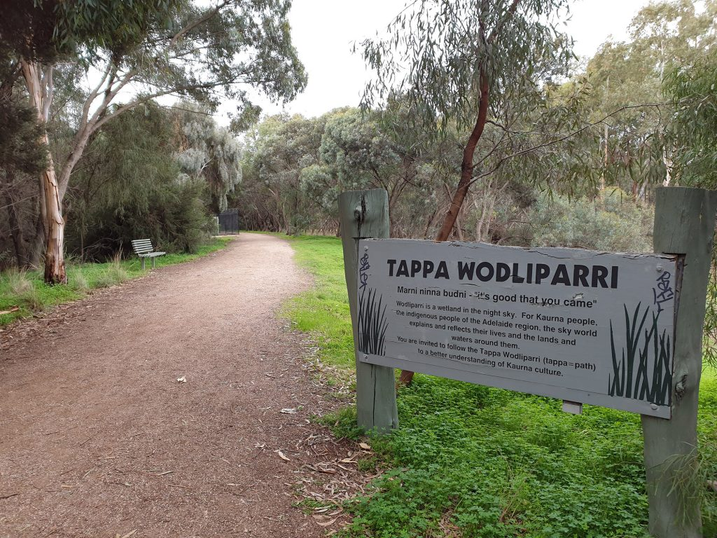 Tappa Wodliparri entrance welcome sign, reads: