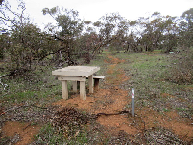 The walking trail through TP Bellchambers Reserve is marked with red arrow markers and has seating along the way
