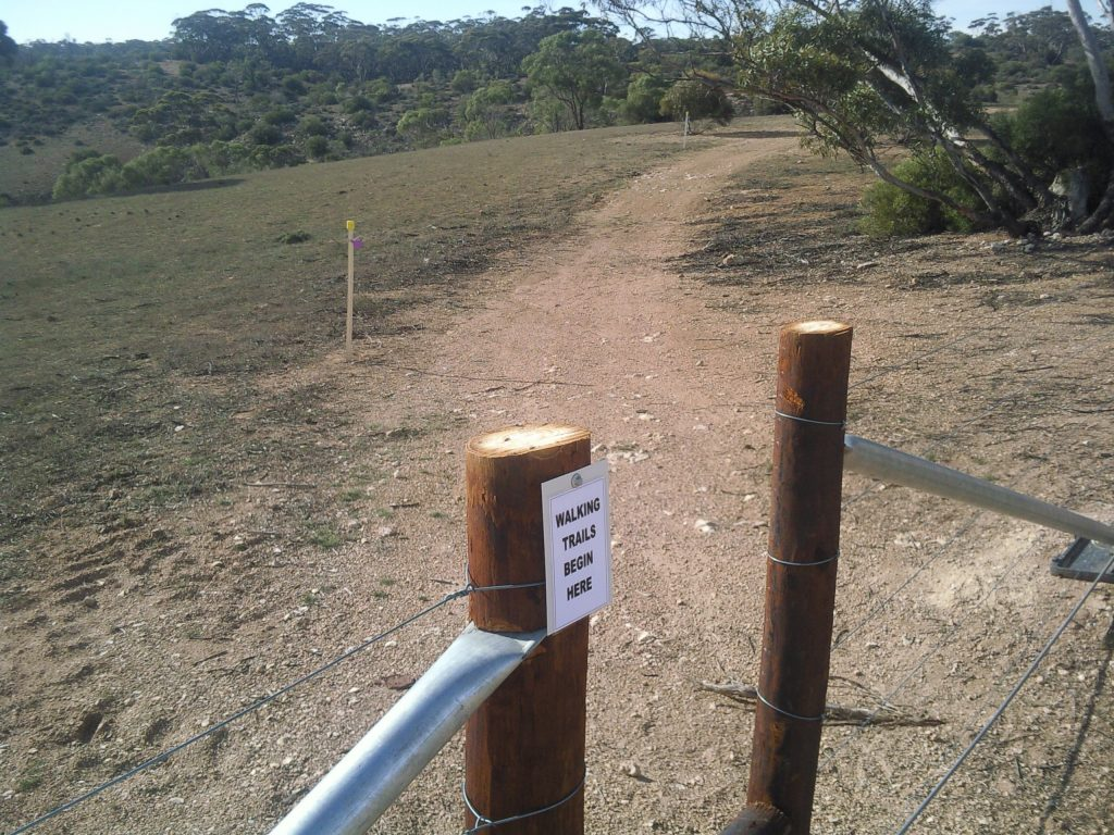 The walking trails are marked with coloured stakes