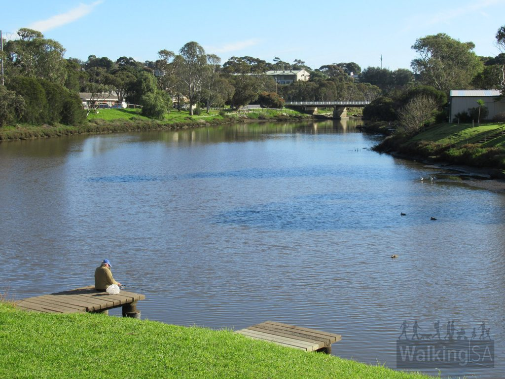 The Onkaparinga River, as seen from Market Square, looking upstream to the South Road bridge