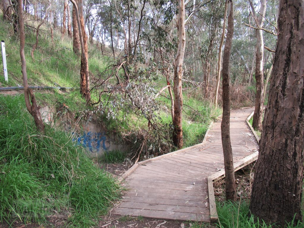 Cross the creek that flows into the dam over this boardwalk