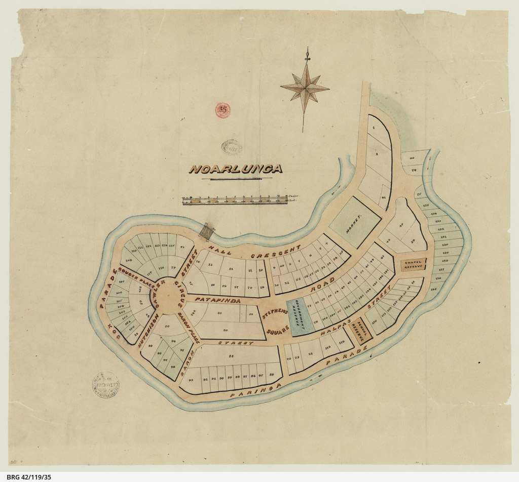 """An 1855 plan for the town of Noarlunga (now Old Noarlunga). Market Square is labelled 'Market' in the top right. The prominent Gawler Circus shown on the left is now just a sweeping curve of the road, with most of thse planned allotments becoming the Noarlunga Oval. The stone bridge can be seen in the top right. Map chart <a href=""""https://collections.slsa.sa.gov.au/resource/BRG+42/119/35"""">BRG 42/119/35 State Library of South Australia</a>."""