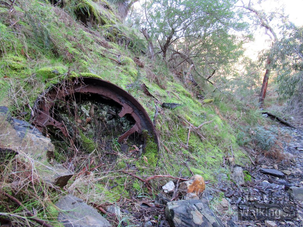 An old wheel on the steep rocky trail that follows the creekline back to the Brick Kiln and Crusher House ruins