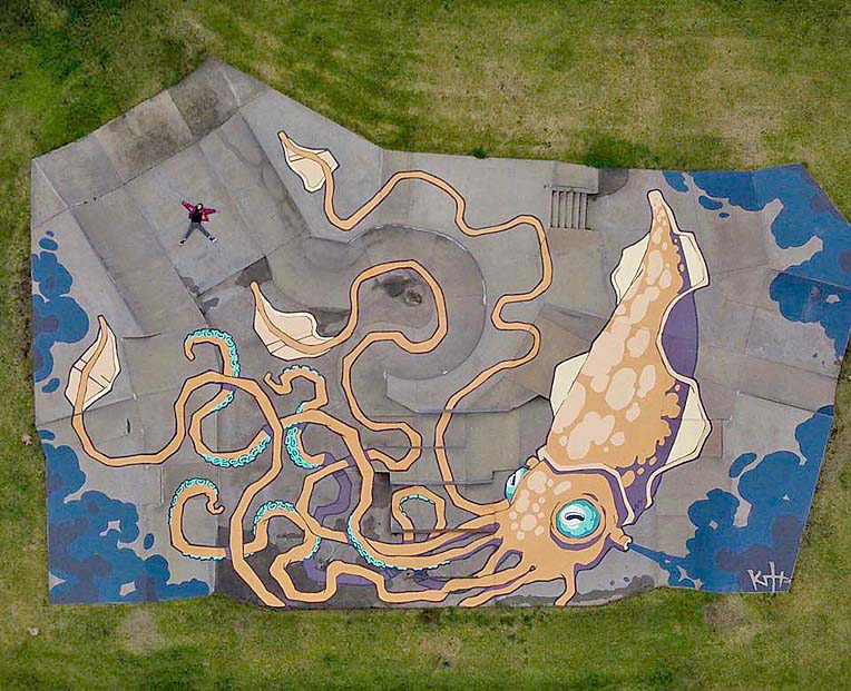 "Street artist Kitt Bennett has <a href=""https://www.abc.net.au/news/2019-08-05/massive-street-art-murals-underfoot/11380970"">painted the Squid mural</a> in the local skate park, seen here from above"