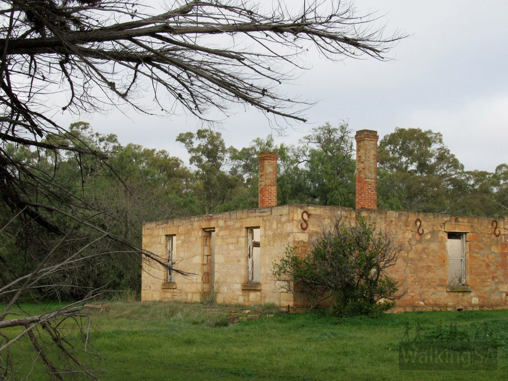 The Sculpture Trail passes by this old ruined stone house