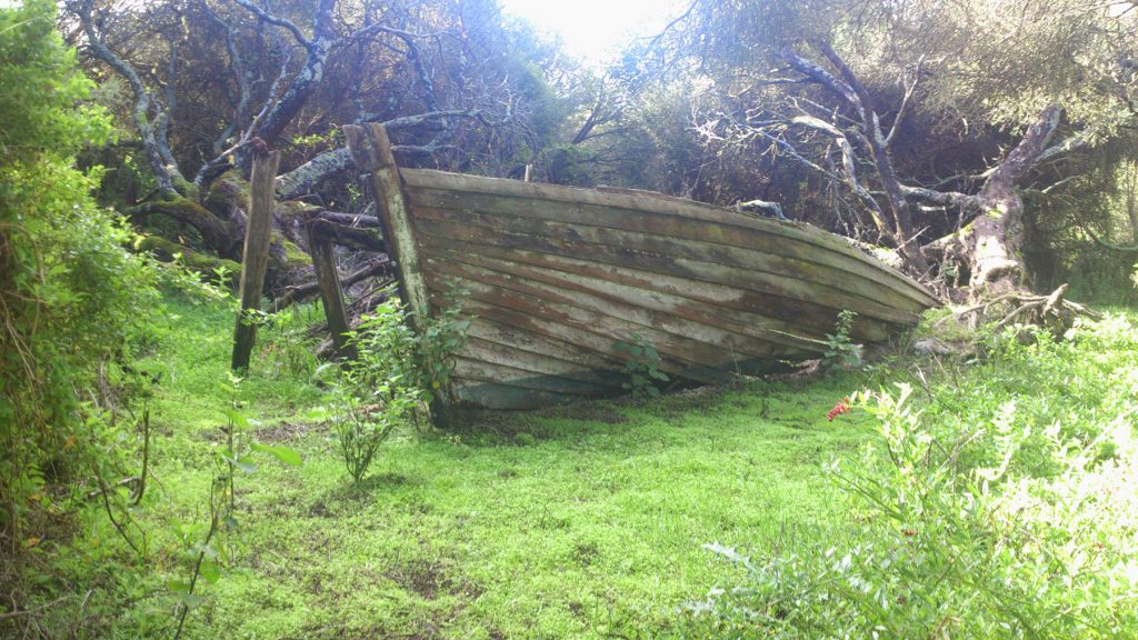 The trail south of the outstation ruins passes the remains of a boat