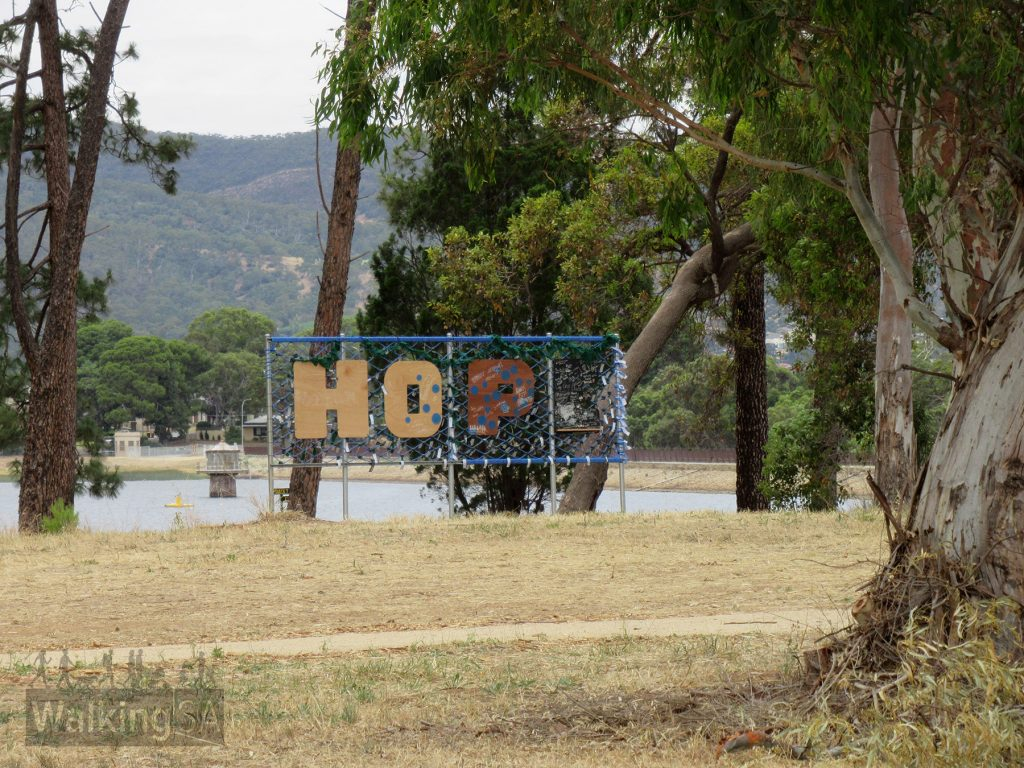 The HOPE letter sign in the north western corner of the reservoir reserve