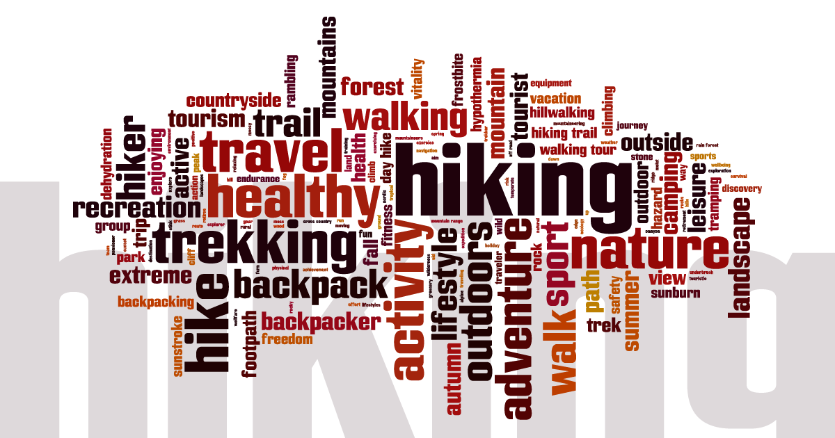 social media tile Rectangle 1200px x 630px: Hiking word cloud