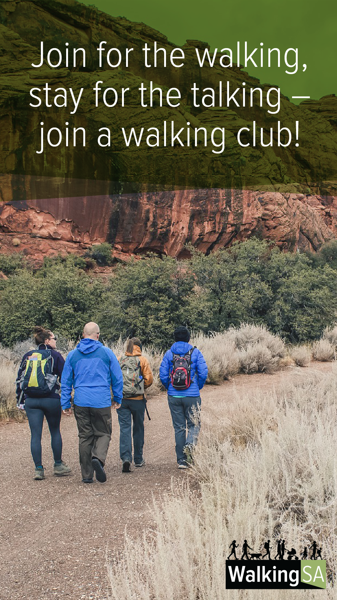 social media tile Square 1080px x 1900px: Join for the walking, stay for the talking – join a walking club!